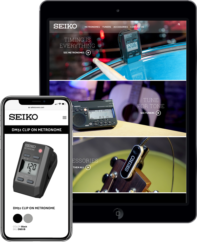 Seiko website displayed on smart phone and tablet