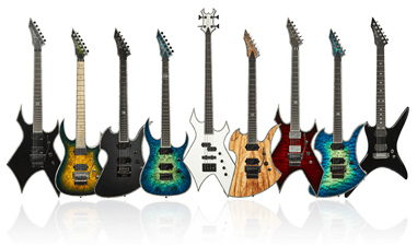 nine electric guitars in a line