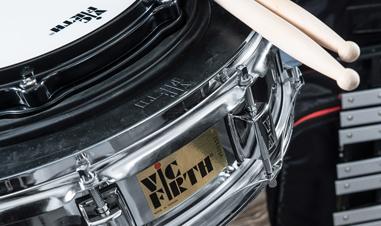 drumsticks on Vic Firth drum