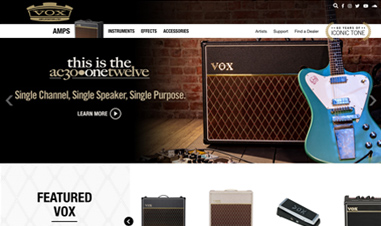 screenshot of VOX amplification website