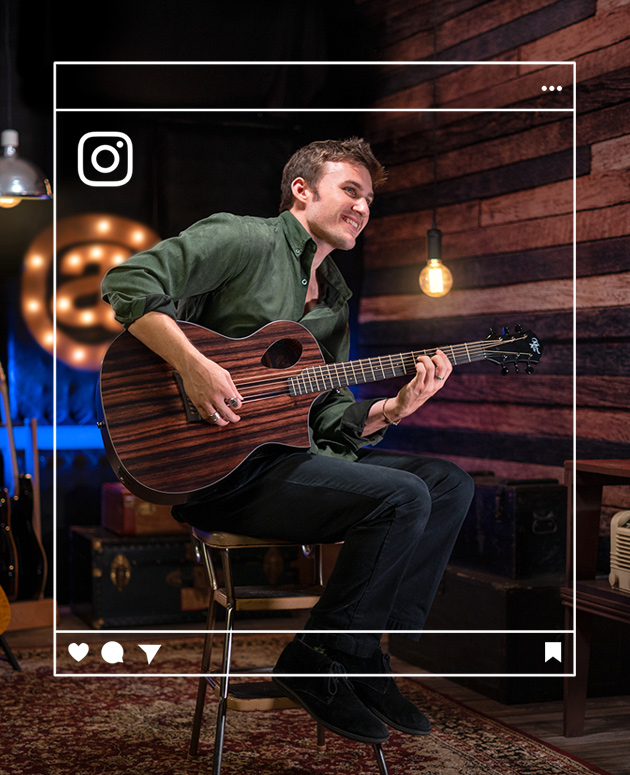 Instagram graphic framing man playing acoustic guitar