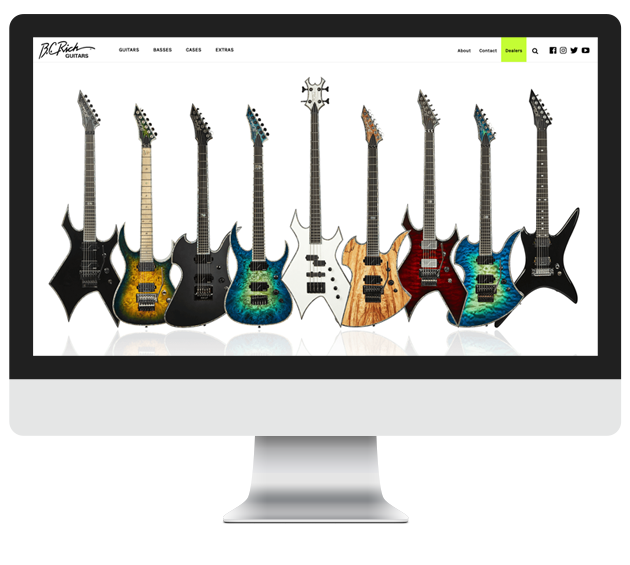 BC Rich website displayed on desktop computer