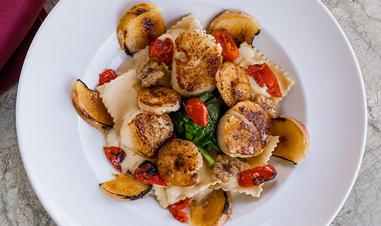 Carmel shrimp pasta dish