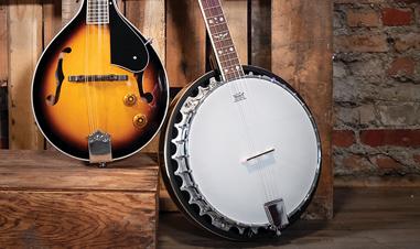 mandolin beside banjo