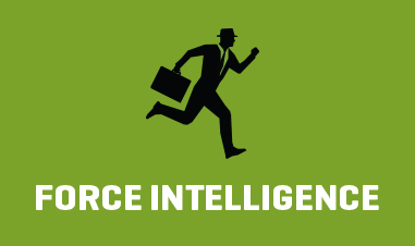graphic of business man with briefcase running above text