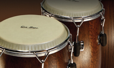 closeup of Gon Bops congas