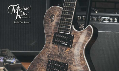 closeup of body of electric guitar in Michael Kelly catalog