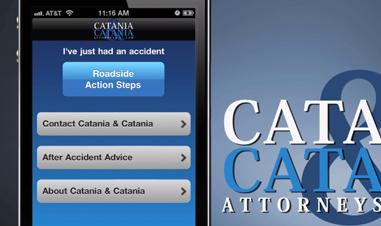 Catania Catania Attorneys app displayed on smart phone