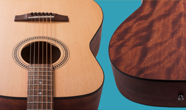 front and back of body of Cort EasyPlay acoustic guitar