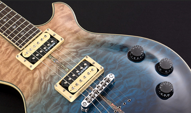 body of silver electric guitar